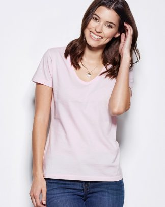 Дамски памучни тениски с остро деколте