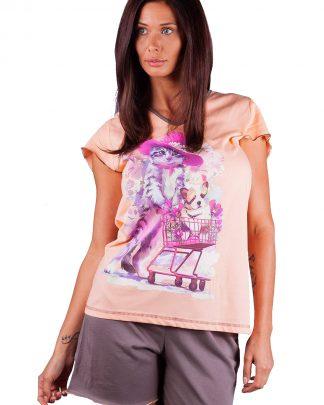 Пижама къси ръкави и къси панталони, български памучни пижами цени, магазини за бельо Пловдив Тракия