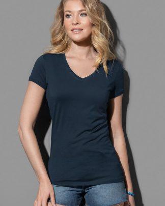 Дамски едноцветни тениски V деколте